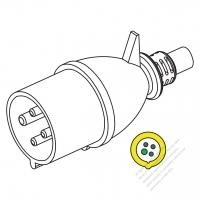 IEC 309 ・IP44 防沫保護 ・3P + E 工業用ACプラグ・32A 110V(4H)