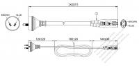 豪州 2 ピンプラグ・IEC 320 C7 コネクタ付き電源コードセット・ 一体成形タイプ・ PVC ワイヤー ・ 長さ1.8M・ 黒 ( H03VVH2-F 2X 0.75mm² )