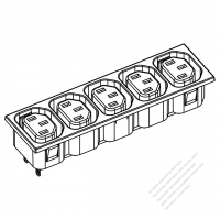 IEC 320 Sheet F 家電製品用ACアウトレット ・ 5個口・ 10A/15A