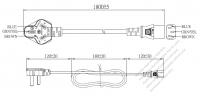 中国 3 ピン プラグ・IEC 320 C13 コネクタ付き電源コードセット ・ 一体成形 タイプ・ PVC ワイヤー ・ 長さ1.8M・ 黒 (60227 IEC 53 3*0.75mm² )