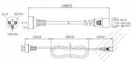 デンマーク 3 ピン プラグ・IEC 320 C13 コネクタ付き電源コードセット ・ 一体成形 タイプ・ PVC ワイヤー ・ 長さ1.8M・ 黒 ( H05VV-F 3G 0.75mm² )