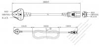インド 3 ピン・  アングル型プラグ・IEC 320 C13 コネクタ付き電源コードセット・ 超音波組み立て- PVC ワイヤー ・ 長さ1.8M・ 黒 (YY 3G 0.75mm² (丸形)