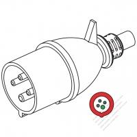 IEC 309 ・IP44 防沫保護 ・3P + E 工業用ACプラグ・32A 500V (7H)