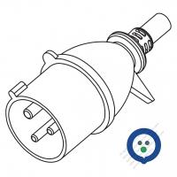 IEC 309 ・IP 20 ・2 P + E・工業用AC プラグ・32A 220V (6H)
