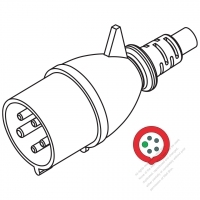 IEC 309 ・IP44 防沫保護 ・4 P + E 工業用ACプラグ ・32A 440V (3H)