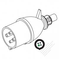 IEC 309 ・IP44 防沫保護 ・3P + E 工業用ACプラグ・32A 690V (5H)