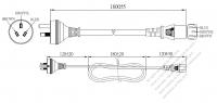 豪州 3 ピン プラグ・IEC 320 C13 コネクタ付き電源コードセット ・ 一体成形 タイプ・ PVC ワイヤー ・ 長さ1.8M・ 黒 ( H05VV-F 3G 0.75mm² )