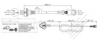 アルゼンチン 3 ピン プラグ・IEC 320 C13 コネクタ付き電源コードセット ・ 一体成形 タイプ・ PVC ワイヤー ・ 長さ1.8M・ 黒 ( H05VV-F 3G 0.75mm² )