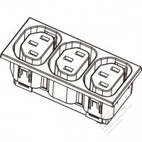 IEC 320 Sheet F 家電製品用ACアウトレット ・ 3個口・ 10A/15A