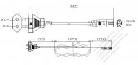 インド 2 ピンプラグ・IEC 320 C7 コネクタ付き電源コードセット・超音波組み立て- PVC ワイヤー ・ 長さ1.8M・ 黒 (YY 2C 0.75mm² (FLAT)(# I210271)