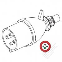 IEC 309 ・IP44 防沫保護 ・3P + E 工業用ACプラグ・32A 400V (6H)