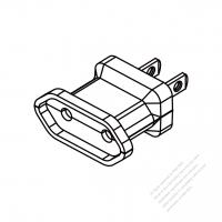 ACアダプタ・北米 NEMA 1-15P プラグ変換欧州組み立て コネクタ (ホコリ防止シャッター)・2 P->2 P・15A 125V