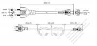 ブラジル 3 ピン プラグ・IEC 320 C5 コネクタ付き電源コードセット・ 一体成形 タイプ・ PVC ワイヤー ・ 長さ1.8M・ 黒 ( H05VV-F 3G 0.75mm² )