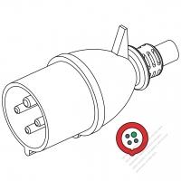 IEC 309 ・IP44 防沫保護 ・3P + E 工業用ACプラグ・32A 440V (11H)