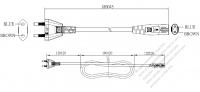 韓国2 ピンプラグ・IEC 320 C7 コネクタ付き電源コードセット・ 一体成形タイプ・ PVC ワイヤー ・ 長さ1.8M・ 黒 ( H03VVH2-F 2X 0.75mm² )