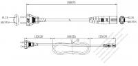 欧州 2 ピンプラグ・IEC 320 C7 コネクタ付き電源コードセット・超音波組み立て- PVC ワイヤー ・ 長さ1.8M・ 黒 (H03VVH2-F 2X 0.75mm² )