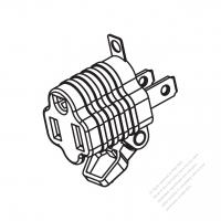 ACアダプタ・北米NEMA 1-15P プラグ変換NEMA 5-15Rコネクタ・2 P->3 P (超音波アセンブリ引き出しが簡単なタイプ)
